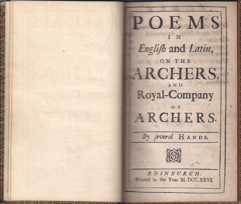 Image for Poems in English and Latin on the Archers and Royal-Company of Archers