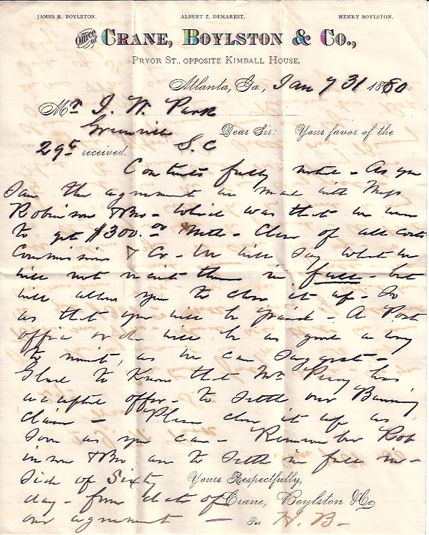 Image for Letter from Crane, Boyleston, & Co. , Atlanta, Georgia
