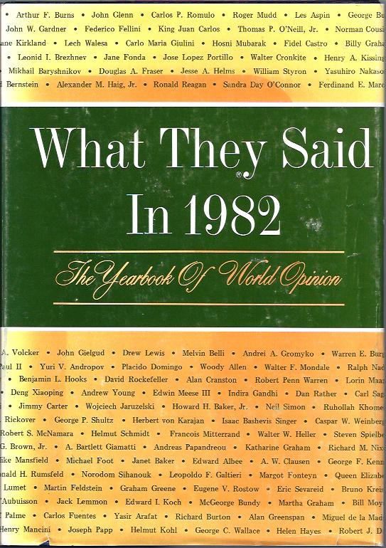 Image for What They Said in 1982 : The Yearbook of World Opinion