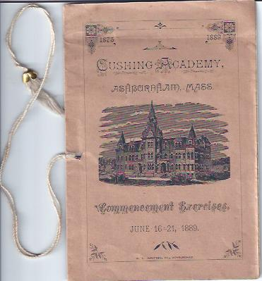 Image for Cushing Academy Commencement Exercises, June 16-21, 1889 Ashburnham, MA