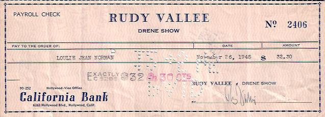 Image for Rudy Vallee Signed Check