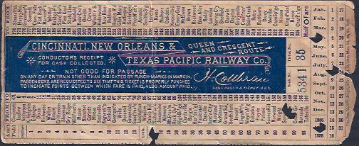 Image for Cincinnati, New Orleans & Texas Pacific Railway Co. , Conductor Receipt