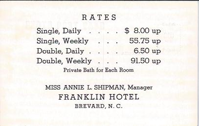 Image for Franklin Hotel Brevard , N. C. , Rate Card