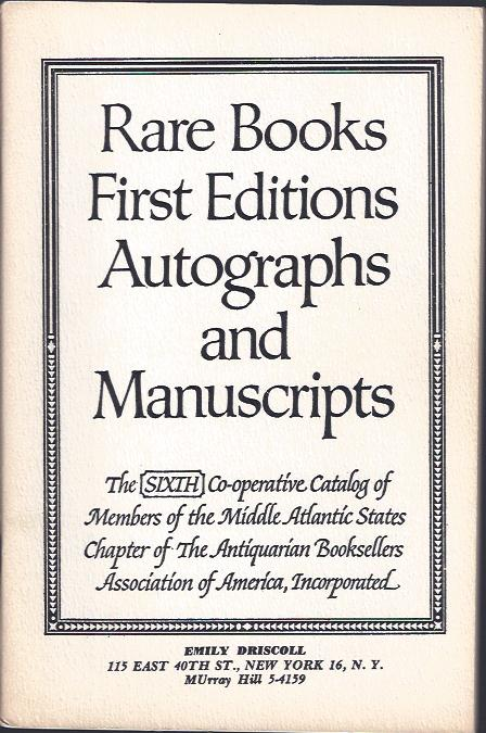 Image for Rare Books, First Editions, Autographs and Manuscripts