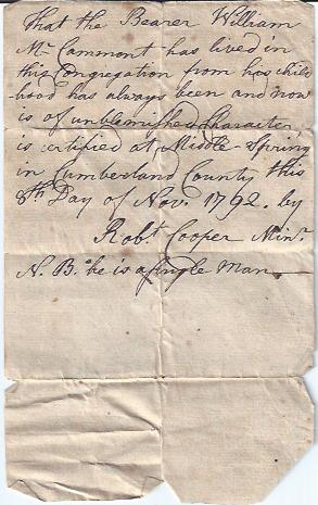 Image for Autograph of Rev. Robert Cooper on Note of Recommendation for Wm McCammont