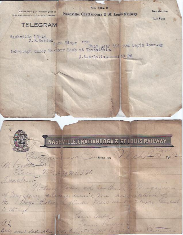 Image for Nashville, Chattanooga & St. Louis Railway Receipt and Two Telegrams