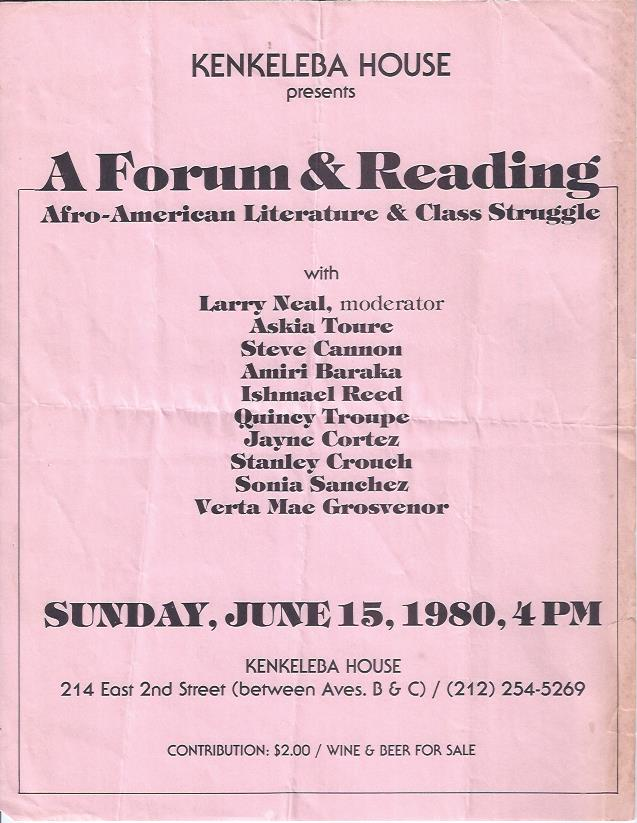 Image for Kenkeleba House Presents a Forum & Reading: Afro-American Literature & Class Struggle
