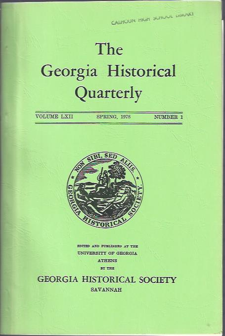 Image for The Georgia Historical Quarterly, Spring, 1978