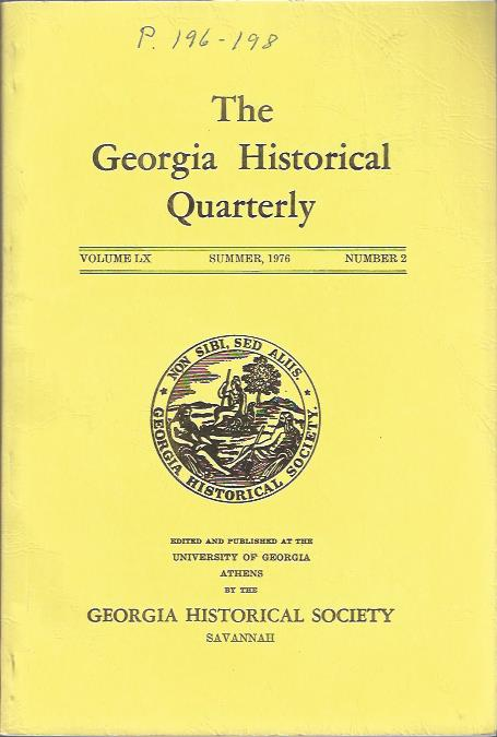 Image for The Georgia Historical Quarterly Summer, 1976