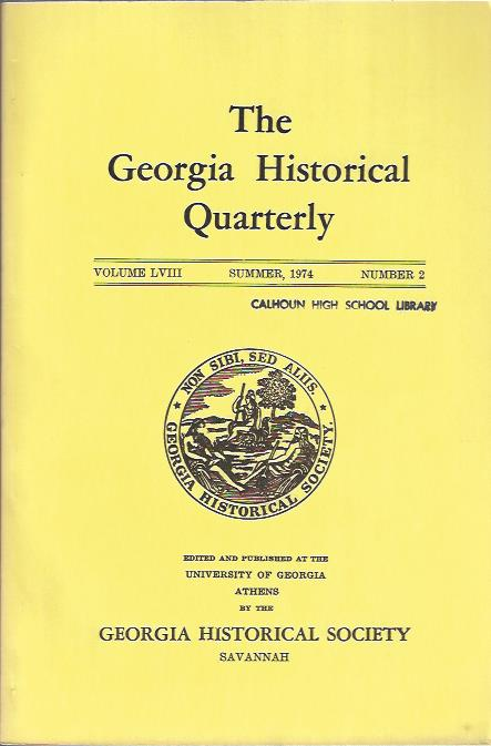 Image for The Georgia Historical Quarterly Summer, 1974