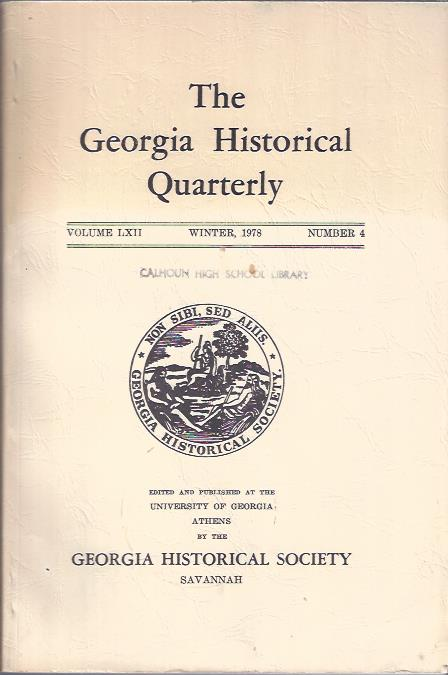 Image for The Georgia Historical Quarterly Winter, 1978