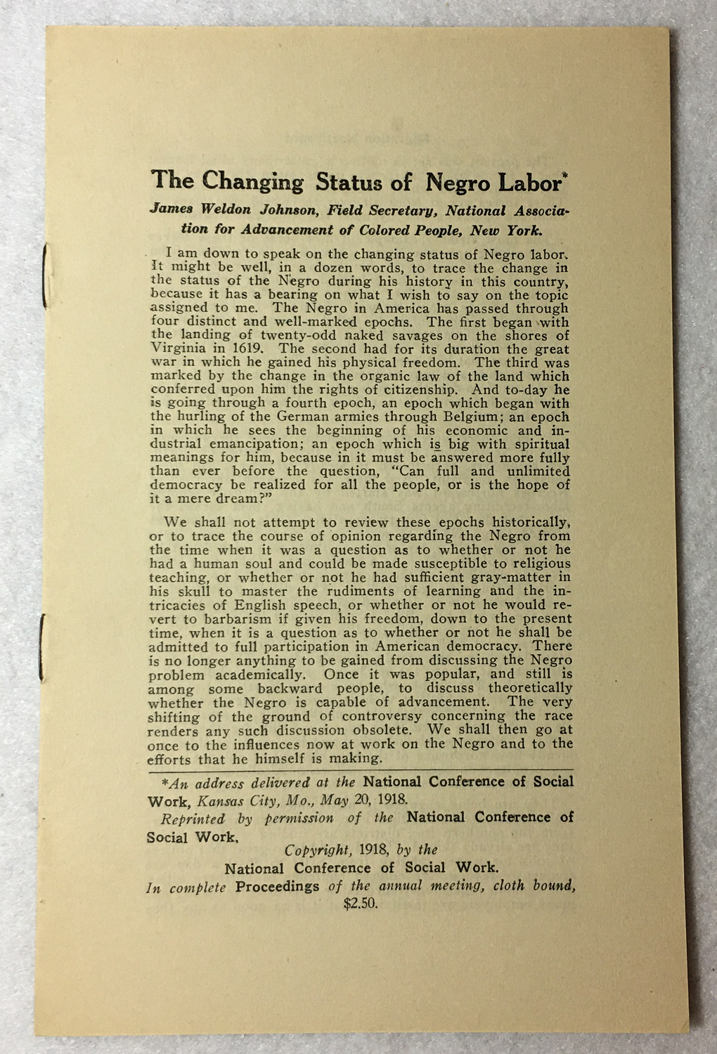 Image for The Changing Status of Negro Labor