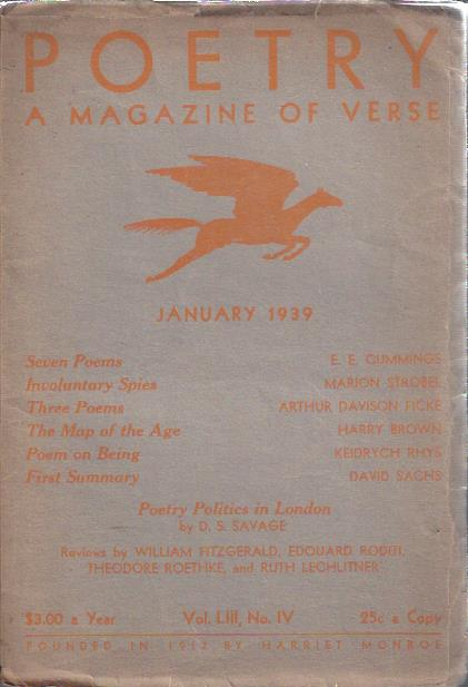 Image for Poetry, a Magazine of Verse January, 1939