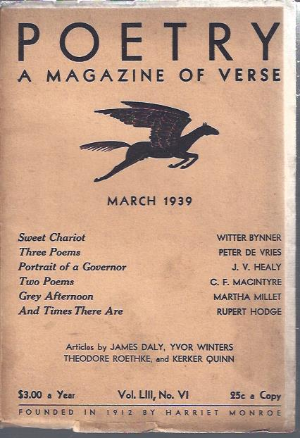 Image for Poetry, a Magazine of Verse March, 1939
