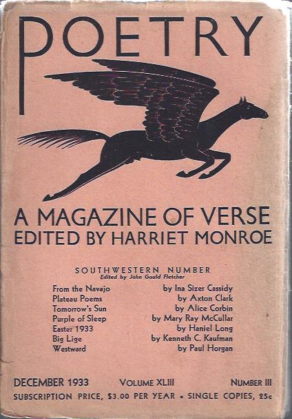Image for Poetry, a Magazine of Verse December, 1933 (Southwestern Number)