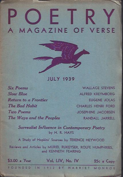 Image for Poetry, a Magazine of Verse July, 1939