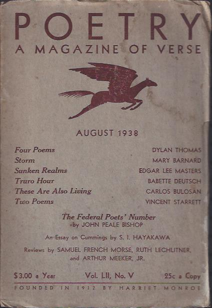 Image for Poetry, a Magazine of Verse August, 1938