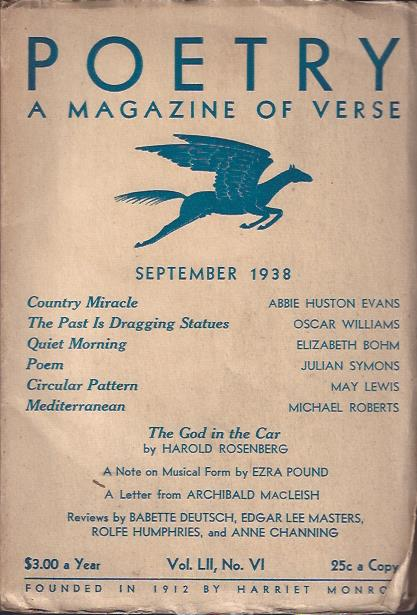 Image for Poetry, a Magazine of Verse September, 1938