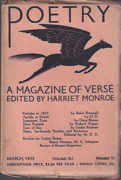 Image for Poetry, a Magazine of Verse March, 1933