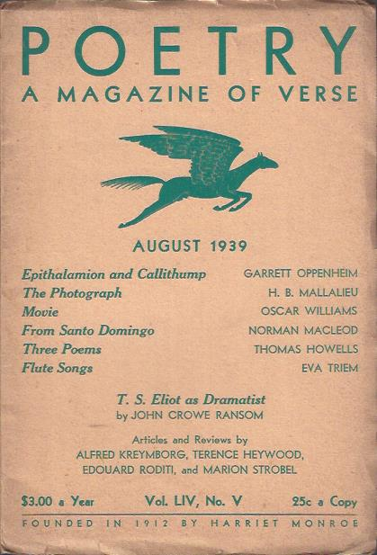 Image for Poetry, a Magazine of Verse August, 1939