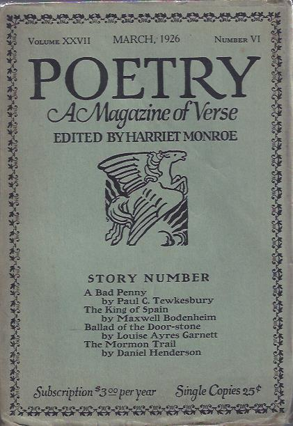 Image for Poetry, a Magazine of Verse March, 1926