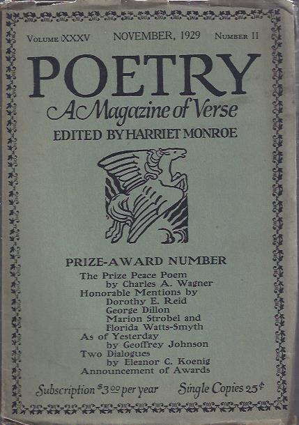 Image for Poetry, a Magazine of Verse November, 1929 : Prize-Award Number