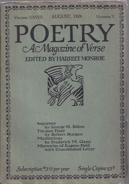 Image for Poetry, a Magazine of Verse August, 1926