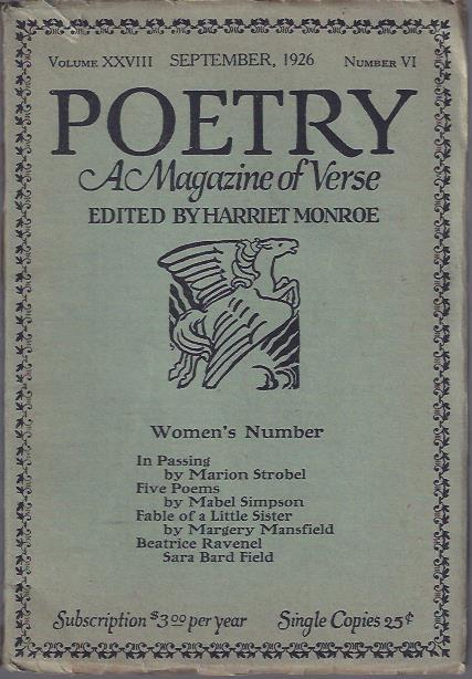 Image for Poetry, a Magazine of Verse September, 1926 : Women's Number
