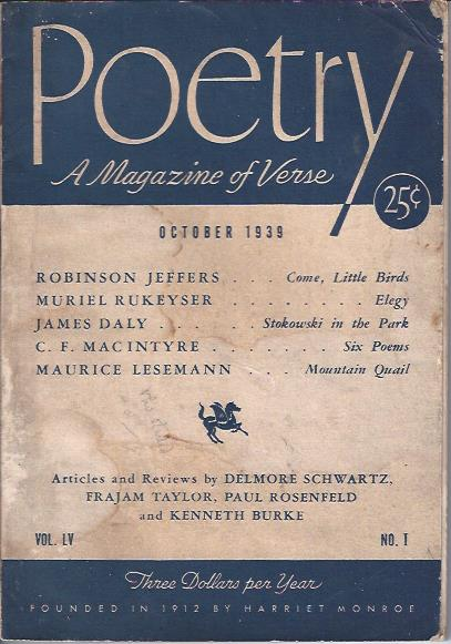 Image for Poetry, a Magazine of Verse October, 1939