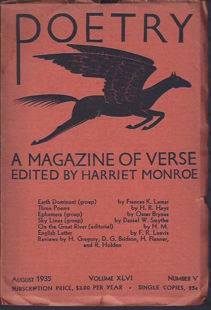 Image for Poetry, a Magazine of Verse August, 1935