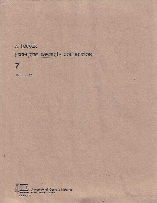 Image for A Letter from the Georgia Collection: March, 1978