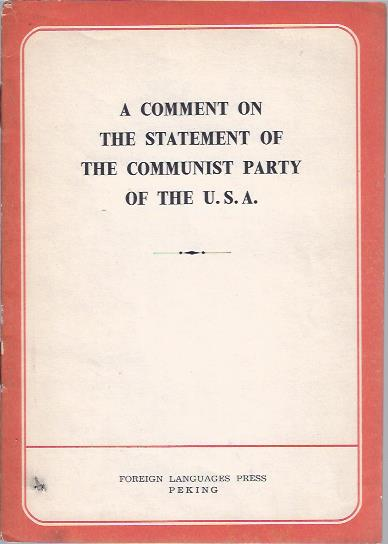Image for A Comment on the Statement of the Communist Party of the U.S.A.