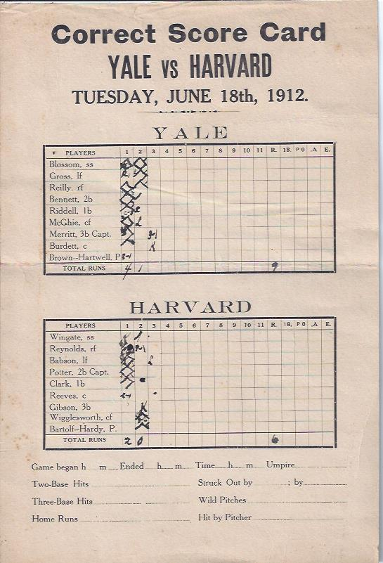 Image for Baseball Scorecard, Yale vs. Harvard, 1912
