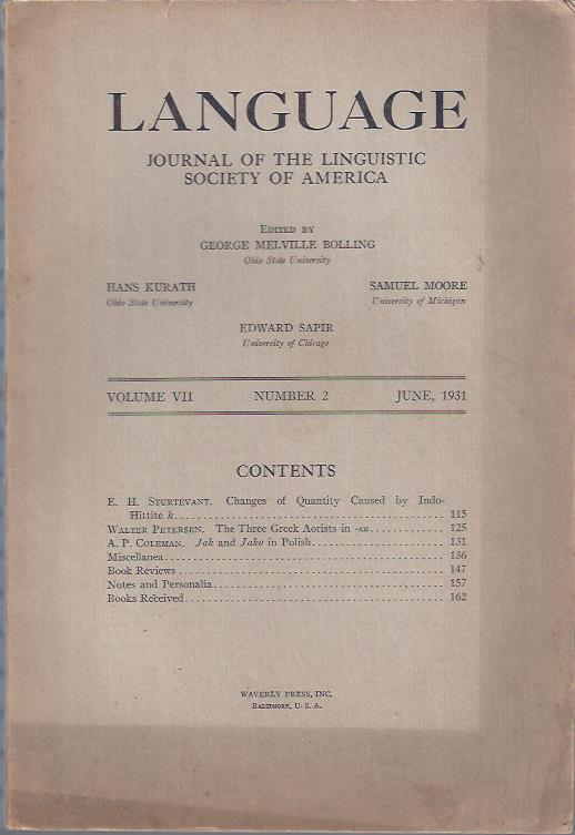 Image for Language: Journal of the Linguistic Society of America, June, 1931