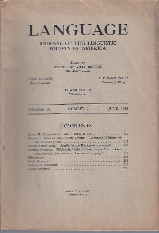 Image for Language: Journal of the Linguistic Society of America, June, 1933