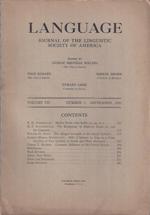 Image for Language: Journal of the Linguistic Society of America, September, 1931