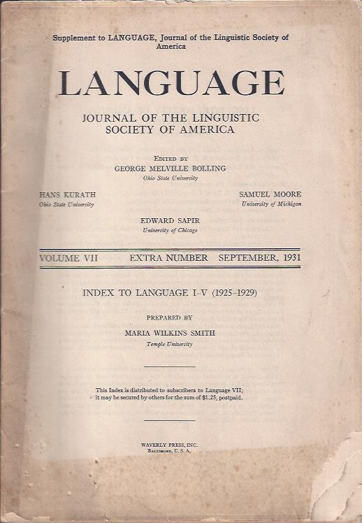 Image for Language: Journal of the Linguistic Society of America, September, 1931, Supplement/Index to Language I-V, 1925-1929