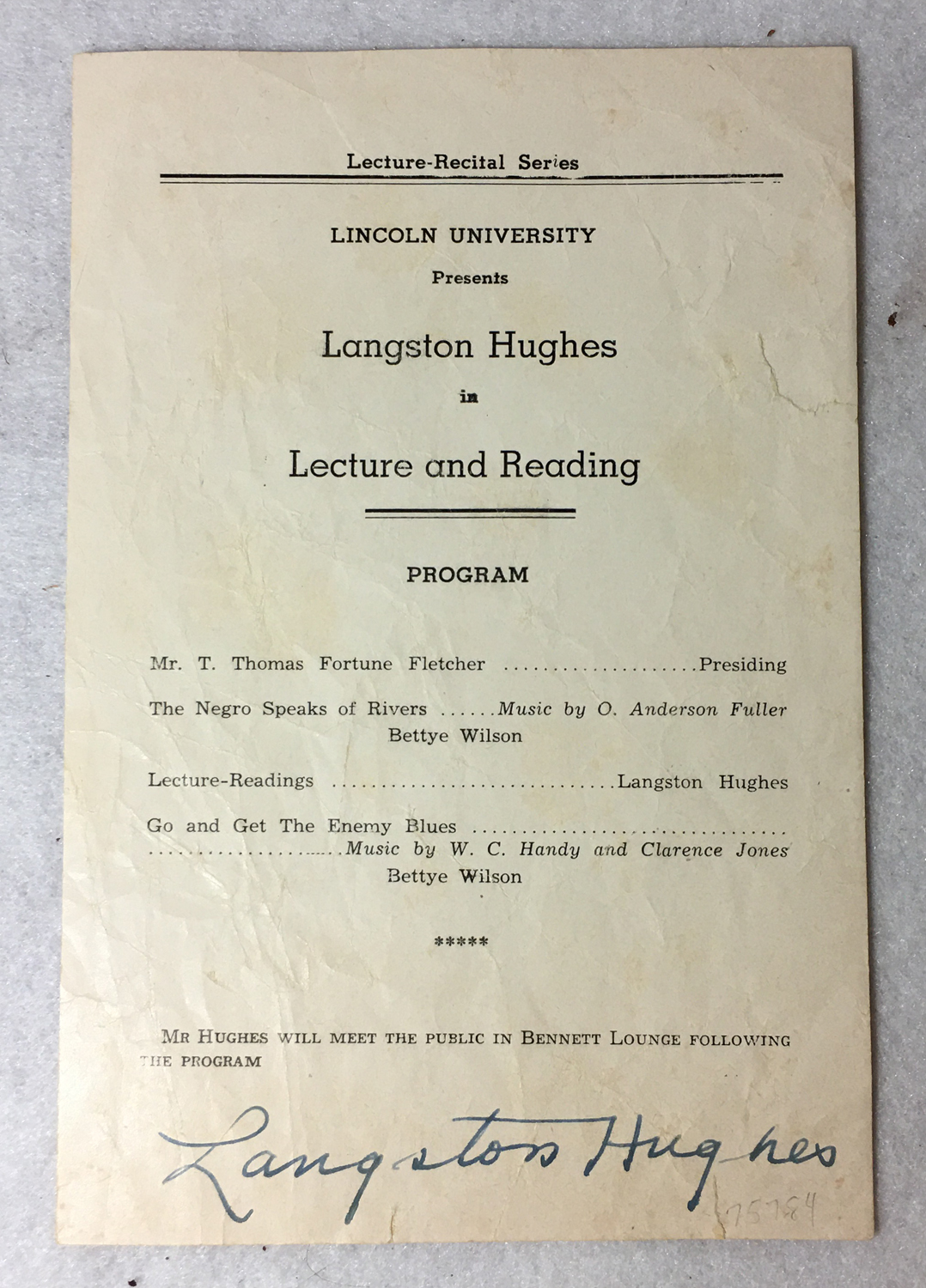 Image for Lincoln University Presents Langston Hughes in Lecture and Reading