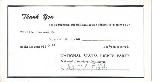 Image for National States Rights Party Receipt with Autograph