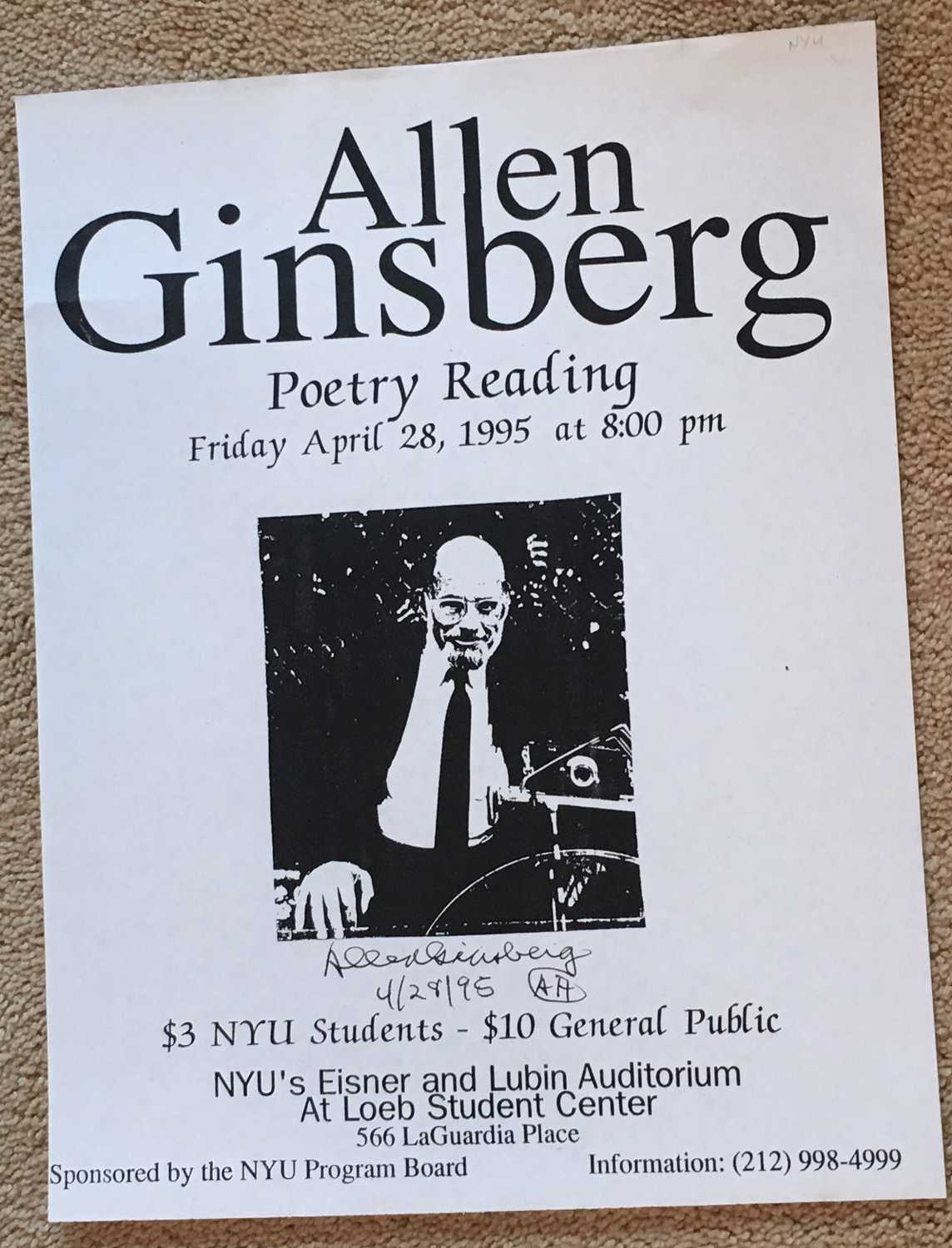 Image for Signed Poster for Poetry Reading, April 28, 1995, NYU