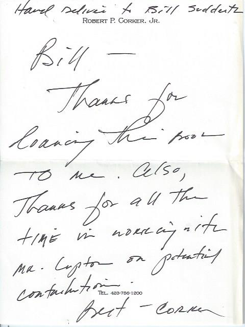 Image for Autographed Note Signed by Bob Corker, Tennessee Senator