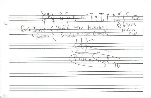 "Image for Autographed Musical Quotation by Chuck Mangione, ""Feels So Good"""