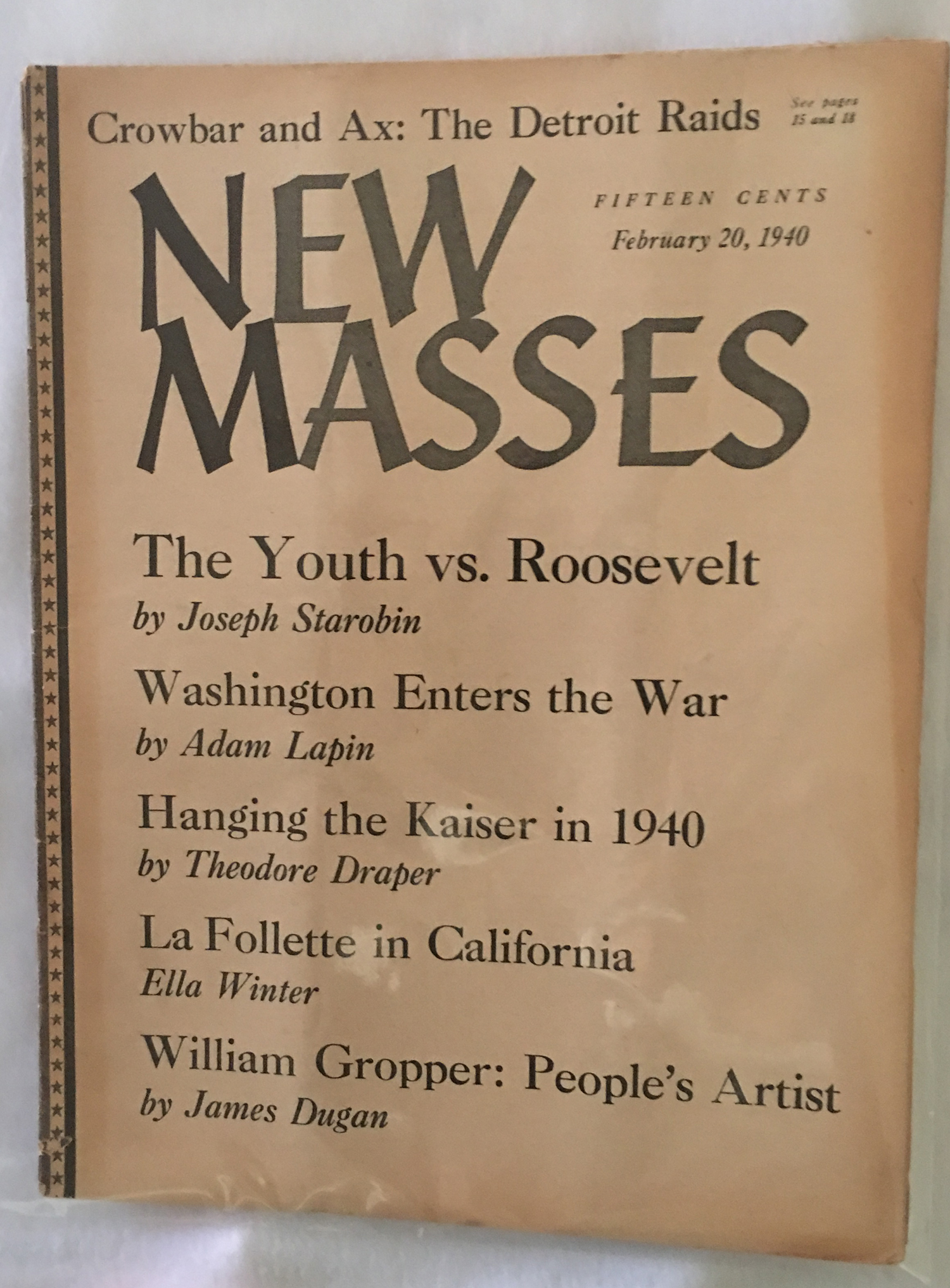 Image for New Masses, February 20, 1940.