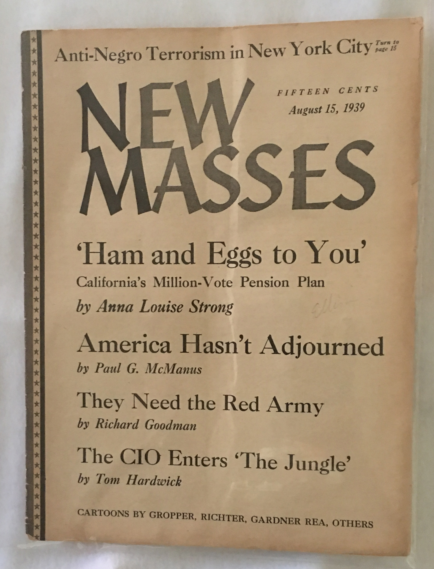 Image for New Masses, August 15, 1939