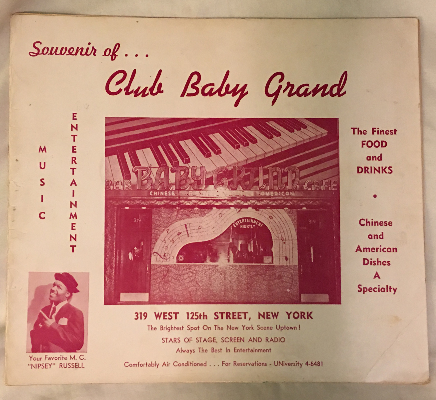 Image for Club Baby Grand, Harlem, Photo Holder, Nipsey Russell