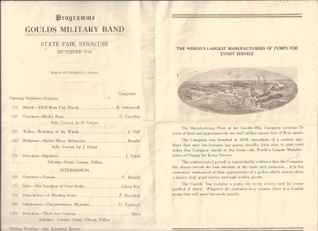 Image for Programme Goulds Military Band of Seneca Falls, New York