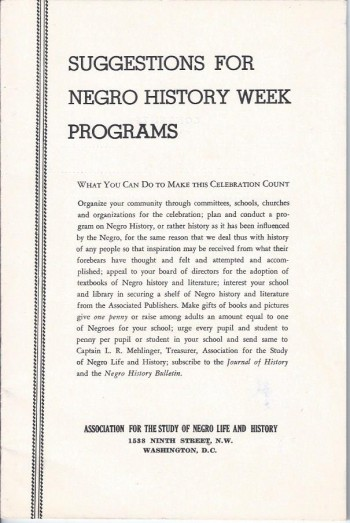 Image for Suggestions for Negro History Week Programs