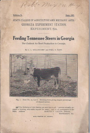Image for Feeding Tennessee Steers in Georgia: The Outlook for Beef Production in Georgia