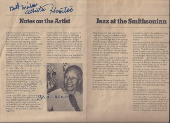 Image for Alberta Hunter Program, Autographed, Washington DC, 1979