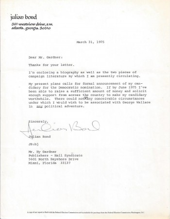 Image for Typed Letter, Signed by Julian Bond, to Hy Gardner, Concerning Presidential Campaign, 1975